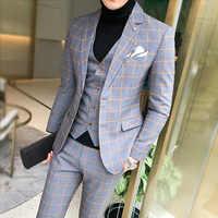 Cinza verificar formal masculino magro ajuste ternos de negócios ternos de casamento smoking ternos para homem sob medida 3 peças traje hombre jaqueta calças colete