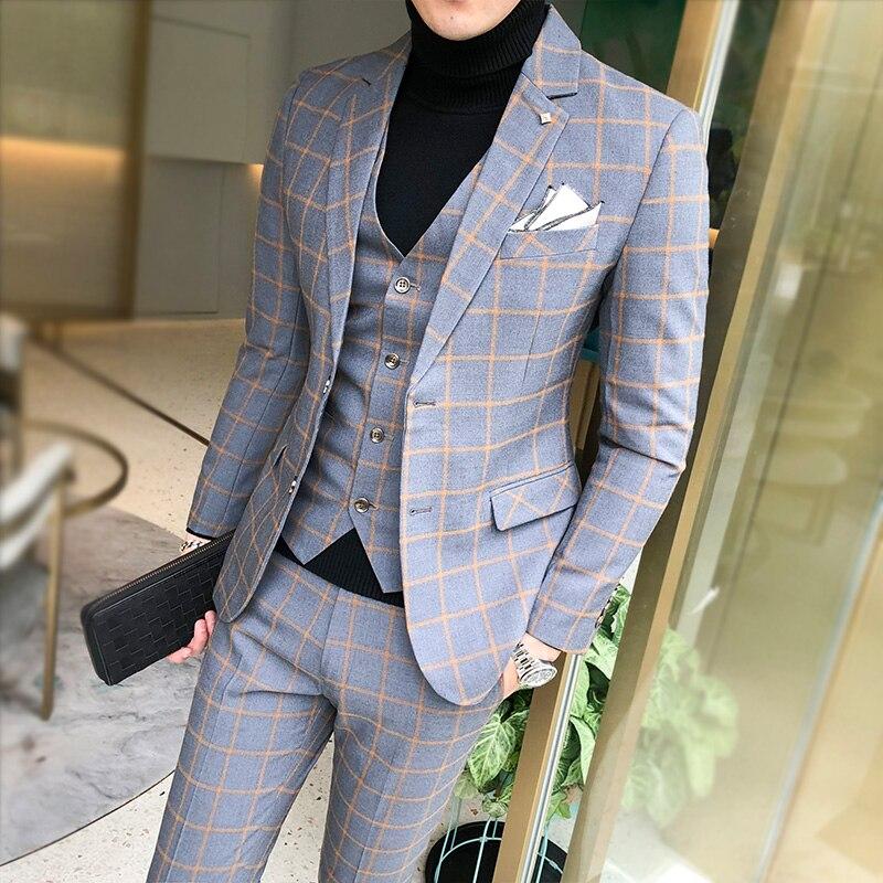 Grey Check Formal Men's Slim Fit Business Suits Wedding Tuxedos Suits For Men Bespoke 3 Pieces Traje Hombre Jacket Vest Pants