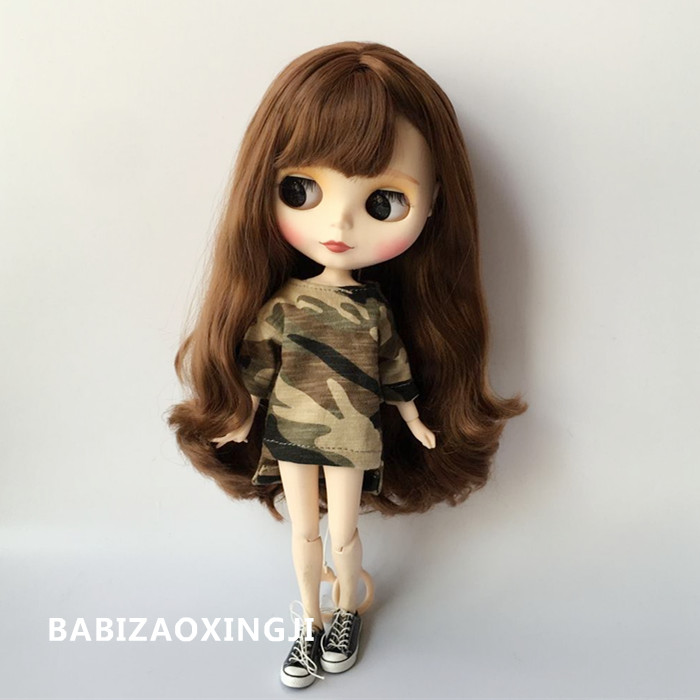 1/6 doll fashion casual clothes 1/6 doll clothing Doll Accessories Camouflage T-shirt for barbie blyth 30cm