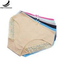цена Prettywowgo 6pcs/lot Plus Size Underwear Women High Waist Cotton Sexy Lace Plus Size Panties XXL 3XL 4XL 9241 онлайн в 2017 году