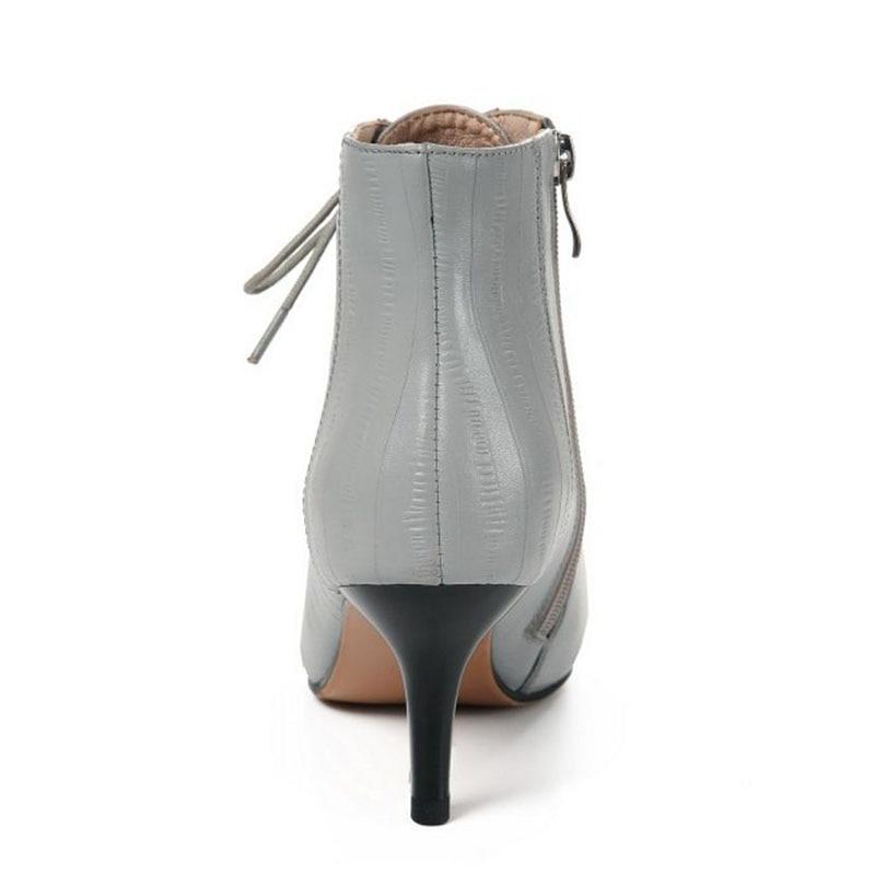Sexy Cuir Cheville Haut 3439 En Hiver Femmes Chaudes De Noir gris Zipper Lanières Talon Véritable Pour Les Kemekiss Chaussures Taille Fourrure Bottes u1c3lJF5TK
