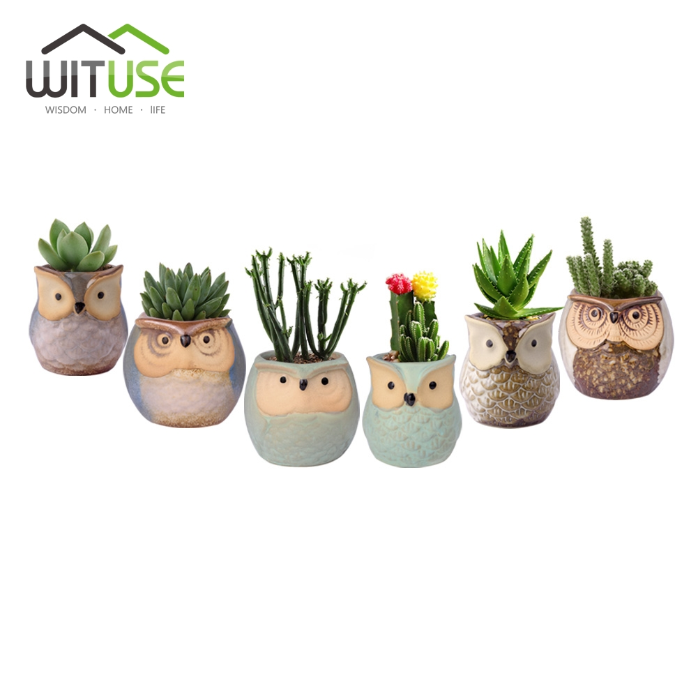 Wituse 6x Cute Owl Face Ceramic Flower Pots Small Glazed