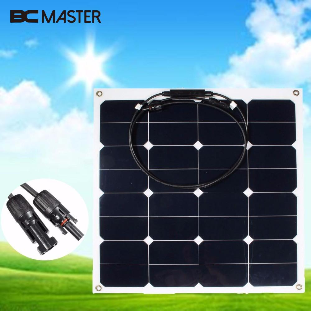 BCMaster Practical Efficiency 12V 50W Soft Semi Flexible DIY Solar Panel Monocrystalline Tool Home Travelling Professional