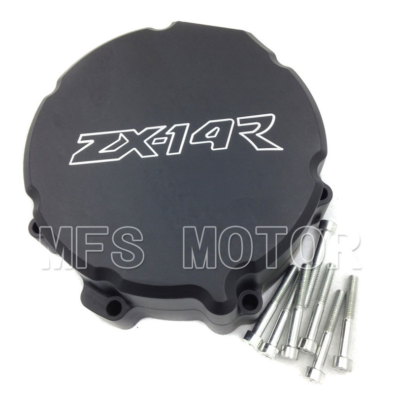 ФОТО BLACK Motorcycle Left side Engine Stator cover For Kawasaki ZX 14R ZX14R ZZR1400 2006 2007 2008 2009 2010 2011 2012 2013