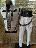 Của nam giới thời trang áo khoác màu trắng nam ca sĩ stylish kim cương giả vest quần vũ công hộp đêm thanh buổi hòa nhạc nhảy múa áo khoác áo khoác ngoài