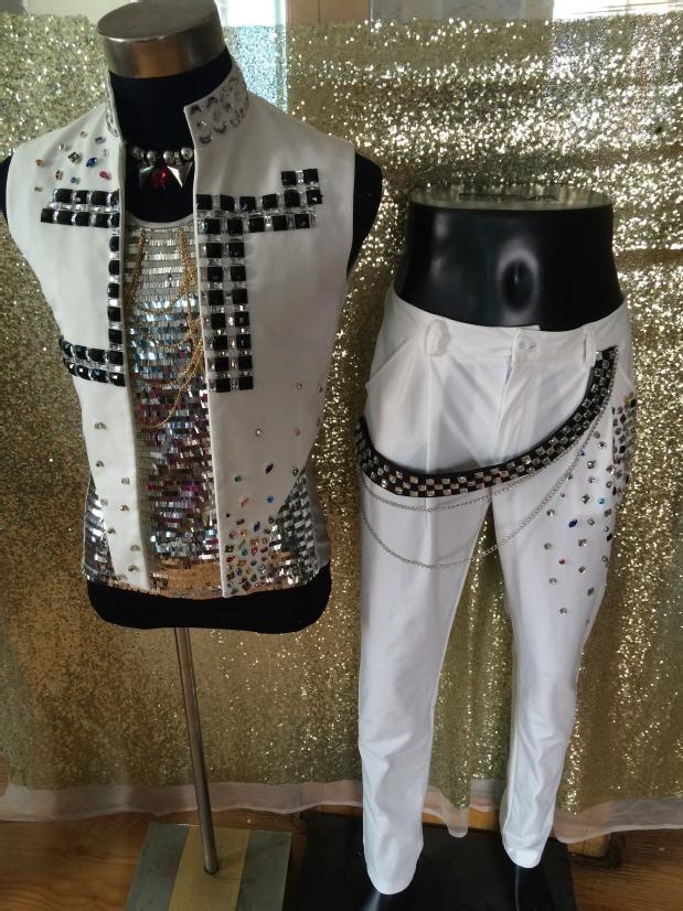 남성 패션 흰색 재킷 남성 가수 세련된 모조 - 남성 의류