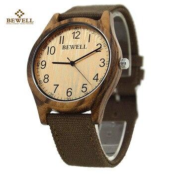 BEWELL marque de luxe étanche bois montre pour garçon toile fermoir en bois mâle montre hommes beau cadeau pour mari père fils 124B horloge
