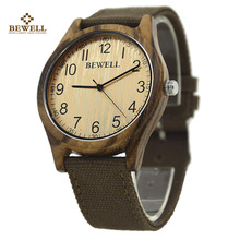 Waterproof Canvas Wristwatch with Bamboo Wood Soft Simple Straps Quartz Movement Watches for Women Men in Boxes New 2017 124B