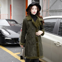 New arrival Women's Winter Fashion Turn-Down Collar Thicken Wool Jacket Double Breasted Woolen army green Outerwear
