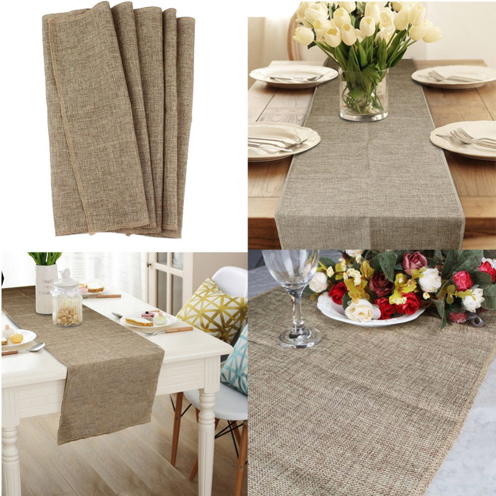 Table Runner Burlap Natural Jute Imitated Linen Rustic Decor Wedding Table Decoration