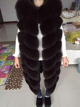 2016real fox fur vest  outerwear fur overcoat long design o-neck sweater vest waistcoat women's