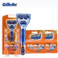 (1 Держатель + 9 Лезвия) Подлинная Gillette Fusion Для Бритья Лезвия Для Мужчин Бренды Бритвы Уход За Лицом