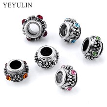 10pcs Retro Silver Color Alloy Rhinestone Big Hole Spacer Beads For Jewelry Making DIY Wholesale