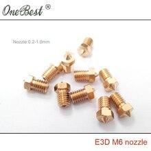 10Pcs E3D M6 threaded Copper Nozzle 0.2/0.25/0.3/0.35/0.4/0.5/0.6/0.8/1.0mm 1.75mm / 3mm Supplies 3D printer parts High quality