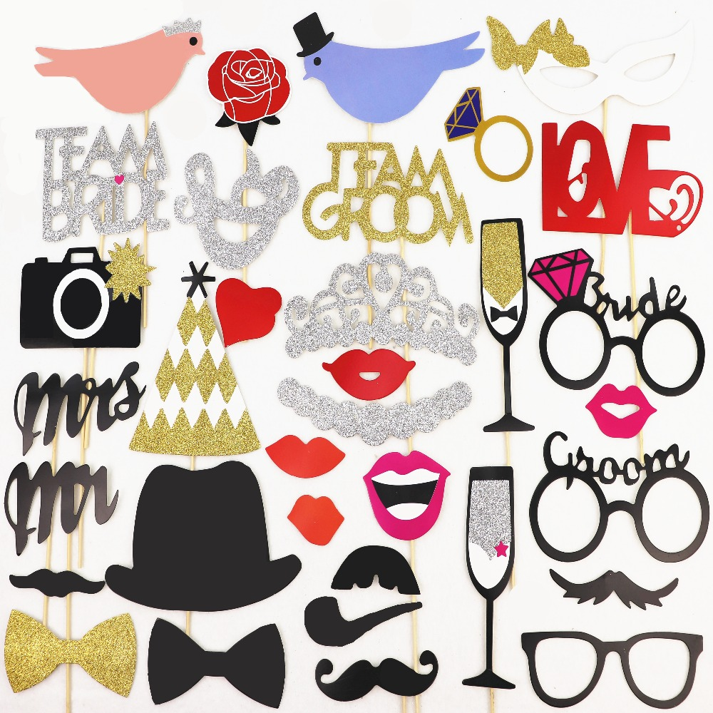 photo booth props just married mrmrs wedding party decorations glitter bridal shower decoration. Black Bedroom Furniture Sets. Home Design Ideas