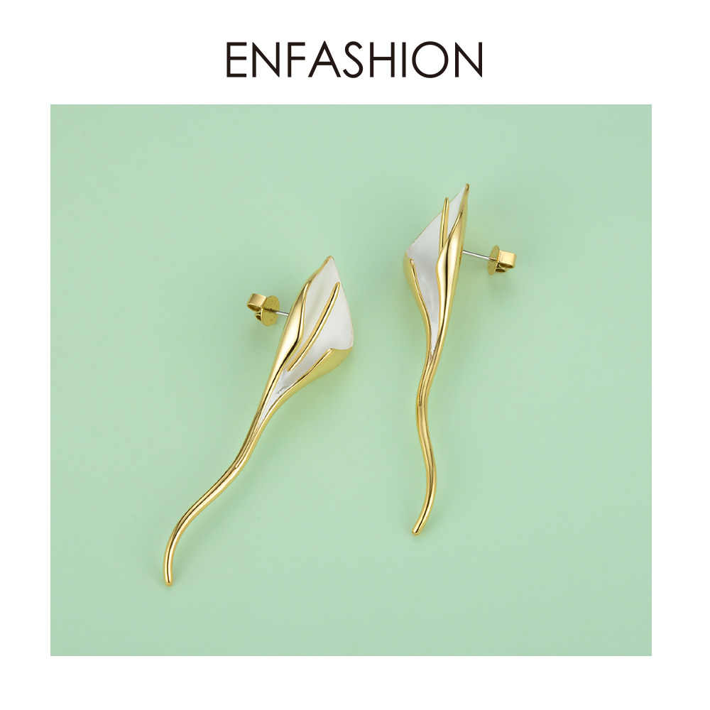 ENFASHION สีขาว Calla Lily ดอกไม้ต่างหูทองสีน่ารักยาว Leaf ต่างหูแฟชั่นเครื่องประดับของขวัญ EC191063