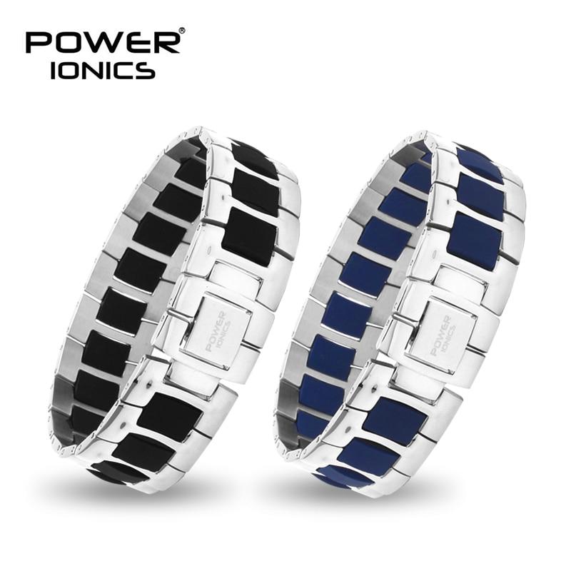 Power Ionics Fashion Black Blue White Unisex Titanium Ion Health Bracelet Wristband PT060
