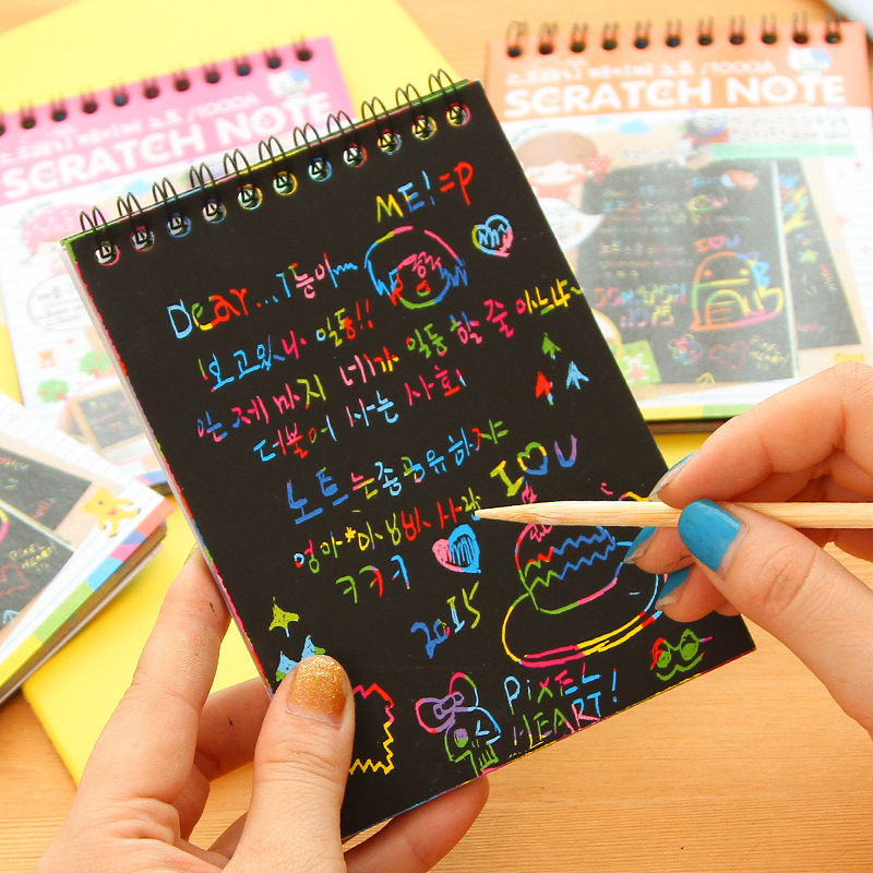 1pcs Hot Magic Drawing Book DIY Scratch Notebook Black Cardboard As Gift For Kids Children Stationery School Supplies