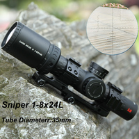 Sniper 1 8x24 L Short Rapid Target Acqusition Riflescopes with 35mm Tube Diameter and Military Reticle Sight Scope High Quality