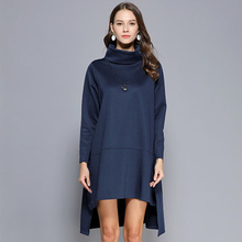 2019 Women's Dress Long Sleeve Loose Fat MM Spring Large Size Long Solid Color Trend Comfortable 2019 woolen winter large size dress sweet pure color large size fat mm dress