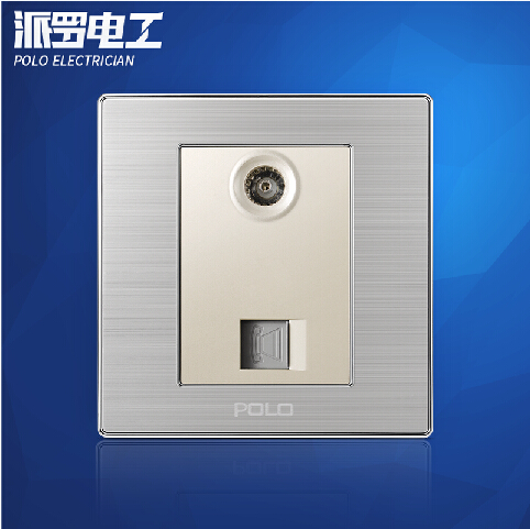 Wholesale POLO Luxury Wall Socket Panel, TV+Telephone Outlet, Champagne/Black, Electric Socket, 10A, 110~250V, 220V,86*86mm