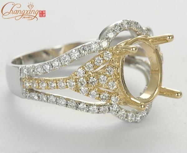 8x10mm Oval Cut 14kt Dos Tonos de Oro Diamante Natural Anillo de Montaje Semi Joyería