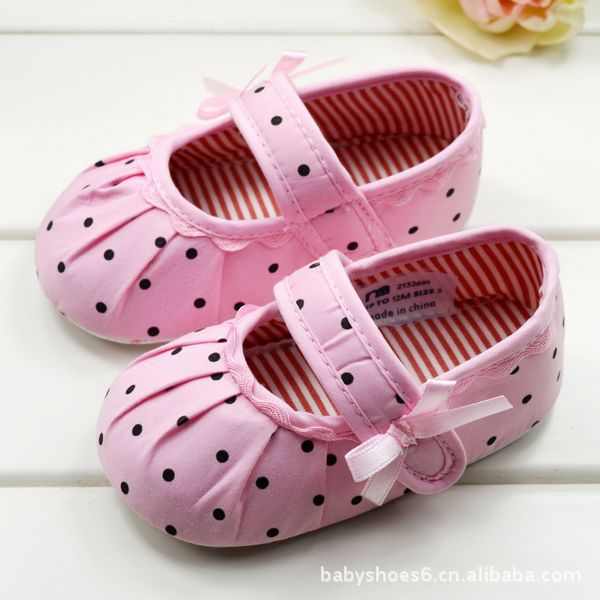 HOT 0-1Years Baby Children's Girl First Walkers Polka Dot Toddler Infant Girls Soft Shoes New 2017 ZC2
