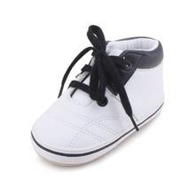 Baby Boy Moccasins Leather Soft Sole Lace-up Canvas Prewalker Shoes Genuine (Sole)