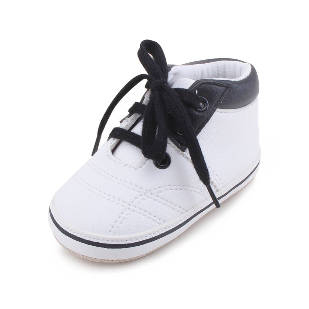Baby Boy Moccasins Leather Soft Sole Lace-up Canvas Prewalker Shoes Genuine (Sole)