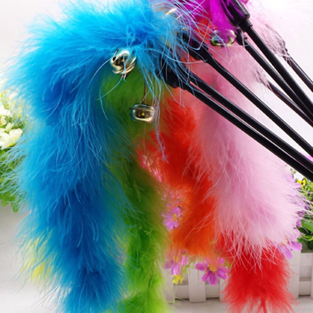 Pet Cat Toy Newly Design Bird Feather Plush Plastic Toy For Cats Cat Catcher Teaser Toy
