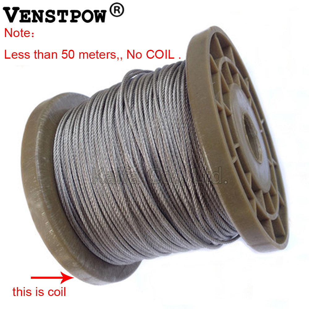 100M high tensile 316 stainless steel wire rope 7X19 Structure 5.0 ...