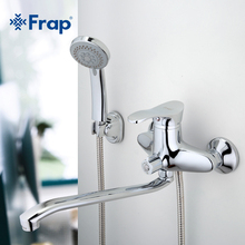 Frap 1 Set Bath Cold and Hot Tap Shower Faucet Chrome Finish with Rotated Long Nose Crane Single Handle F2201 F2204 F2266 F2268