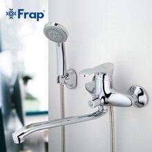 Frap 1 conjunto de banho torneira do chuveiro quente e fria acabamento cromado com girado longo nariz guindaste único punho f2201 f2204 f2266 f2268