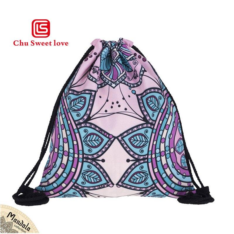 2018 New Fashion Mandala 3D Printing Travel Pocket Man Women Harajuku Drawstring Bag Men Canvas Backpacks