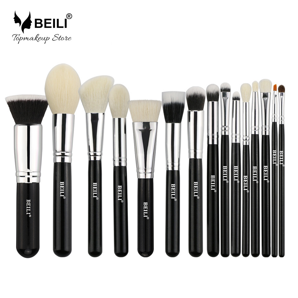 BEILI 15pcs Black Premium Goat hair Big Powder Foundation blusher eye shadow Contour Makeup brush set beili 12 pieces black premium goat hair synthetic powder foundation blusher eye shadow concealer makeup brush set cosmetic bag