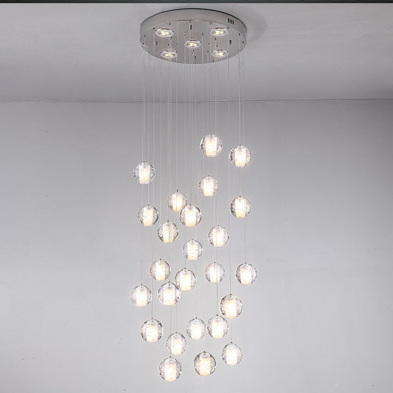 36 Light Crystal Chandelier Modern Clear Sphere Ball
