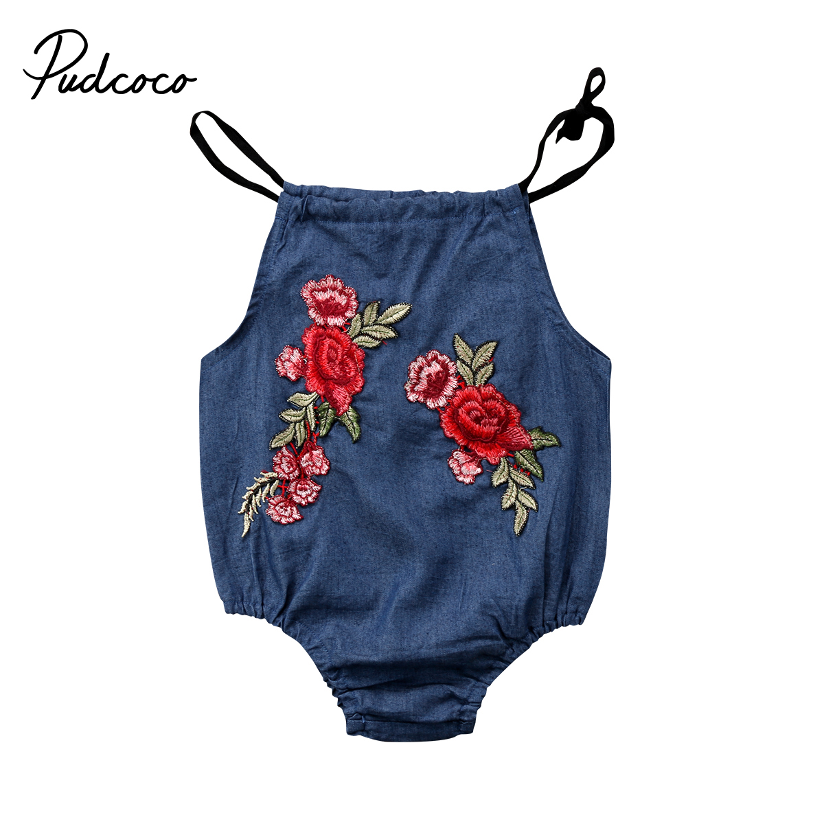 Lovely Baby Clothing Newborn Infant Baby Girl Denim Sleeveless Clothes Floral Romper Jumpsuit Playuist 0-2T