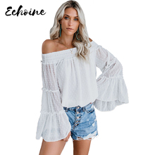 цена на Echoine Women/Girls White/Pink/Blue Swiss Dot Off The Shoulder Top Fashion Autumn Spring Long Flare Sleeve Plus Size XXL Blouse
