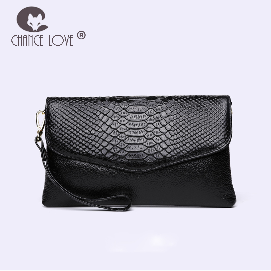 Chance Love 2018 Envelope clutch bag female simple Genuine leather handbag Crocodile pattern clutch black red diagonal handbags