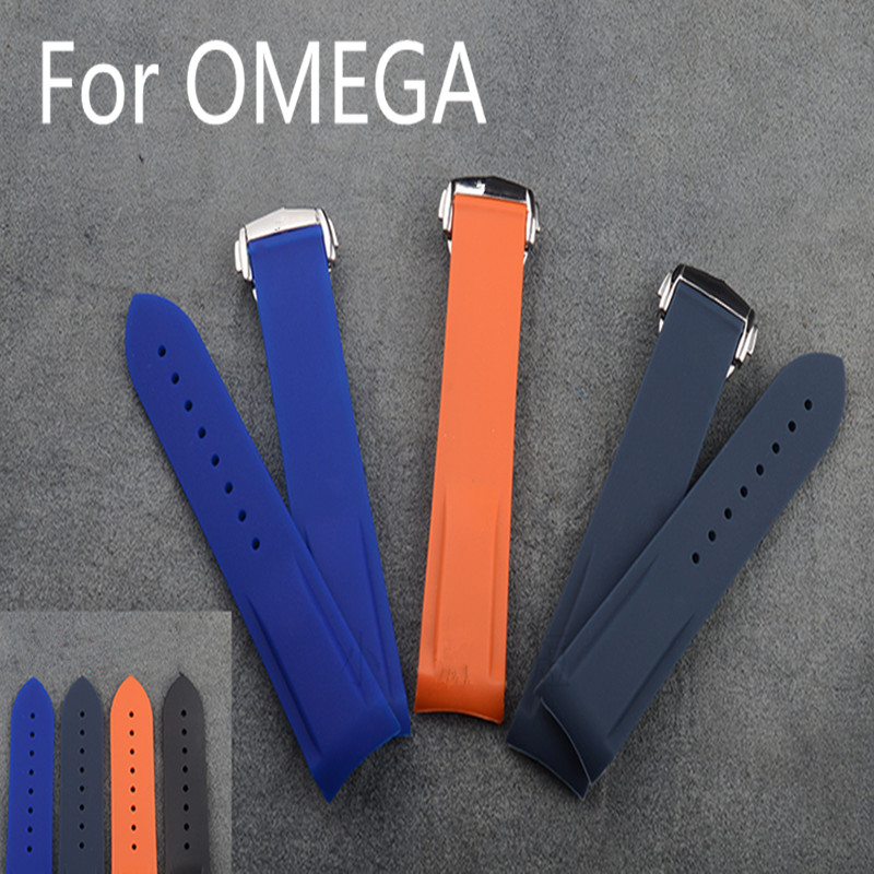 Luxury Band,18MM 20MM 22MM Natural Rubber Watch Strap With Butterfly Buckle,Watchband For Omeg With Original Logo,Free Shiping