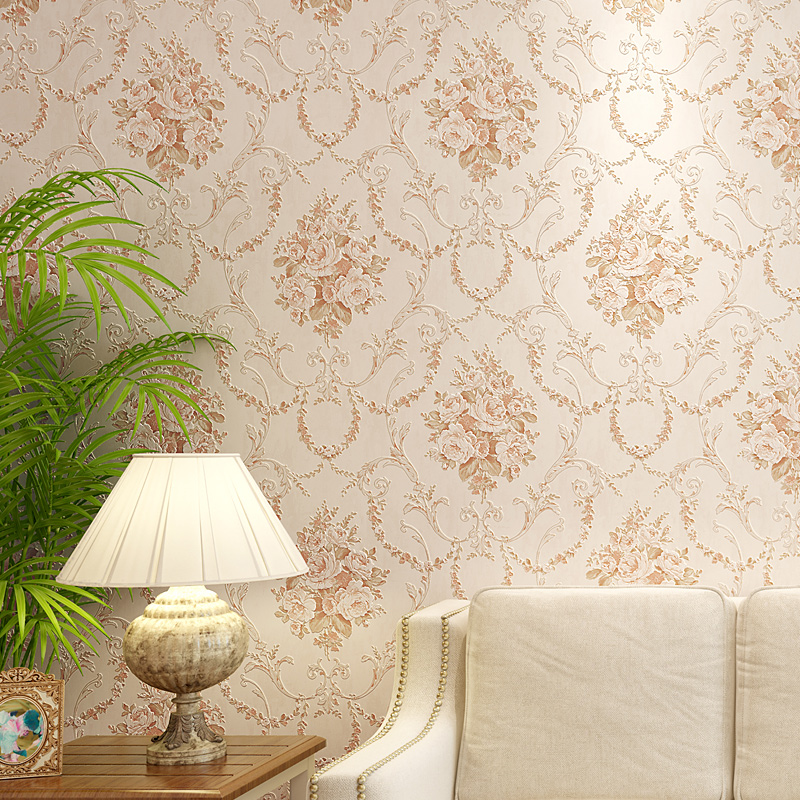 Luxury 3d embroidery wallpaper fashion rustic vintage flower bedroom wall wallpaper