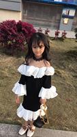girls party dress black white color ruffles sweet toddler baby girls dresses