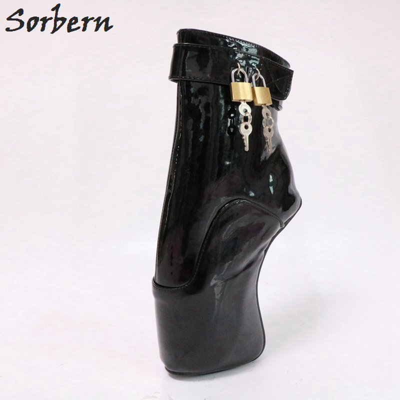Sorbern Sexy Fetish Boots Ankle High Ballet Heelless Extreme Heels Contrast Fetish Ballet Heel Crossdressed Ankle Trendy Heels