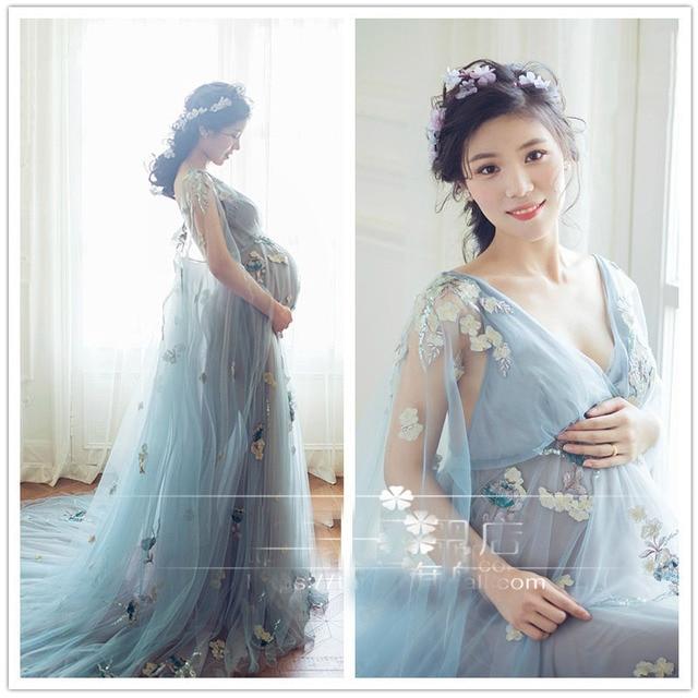 e81f76f07c6b Maternidad fotografía Props embarazo Vestido fotografía maternidad vestidos  para sesión de fotos mujeres embarazadas Vestido Gravidas Clothe