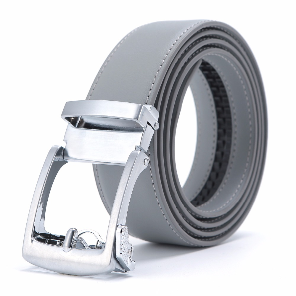 New Designer Popular Luxury Brand Cowhide Leather   Belt   Men Gray Automatic Buckle Business Casual   Belts   For Men 3.5 Width