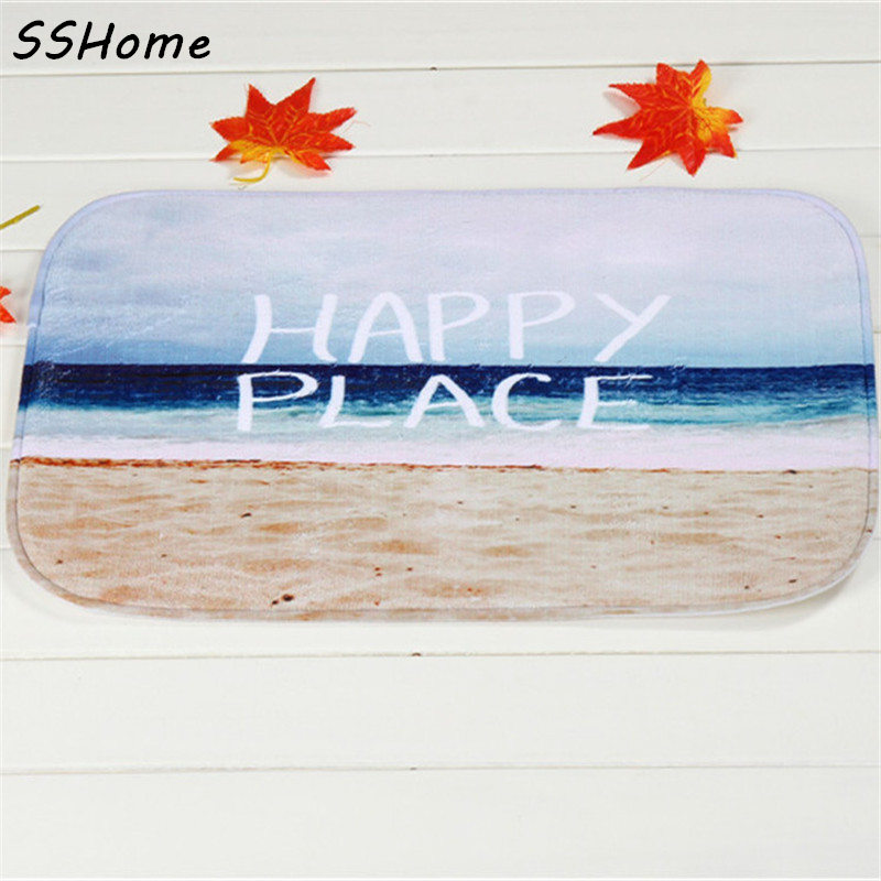 Coral Velvet Bathroom Carpet Mats Anti-slip Rug Shower 40x60cm Happy Coast Bath Kitchen Doormat for Hallway Home Decoration