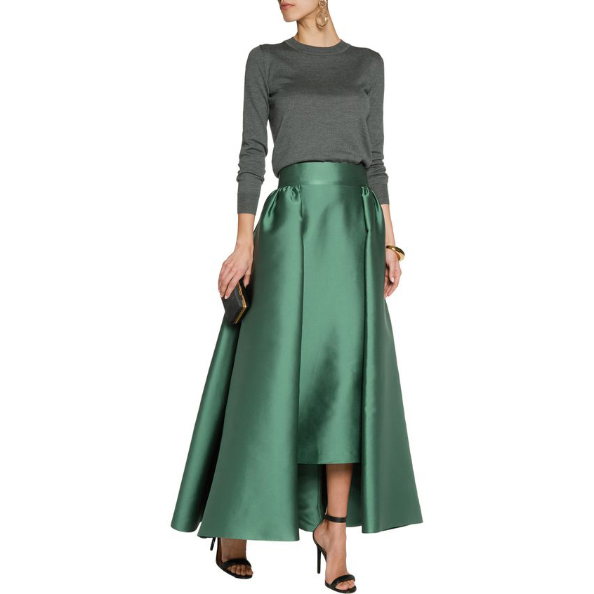 Autumn Spring Thick Satin Maxi Skirt Wide Zipper Waistline A Line Floor Length Maxi Skirt Personalized