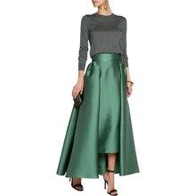 Autumn Spring Thick Satin Maxi Skirt Wide Zipper Waistline A Line Floor Length Maxi Skirt Personalized Dark Green Skirts Women