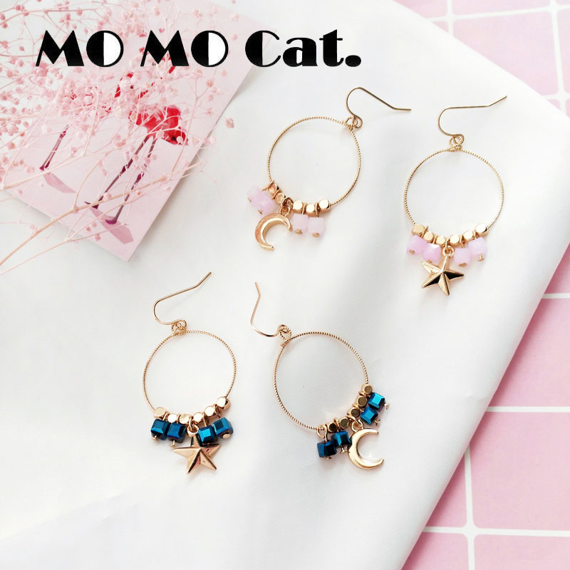 Free shipping Fashion jewelry Wholesale gift Girl star moon sugar sweet geometric earrings.