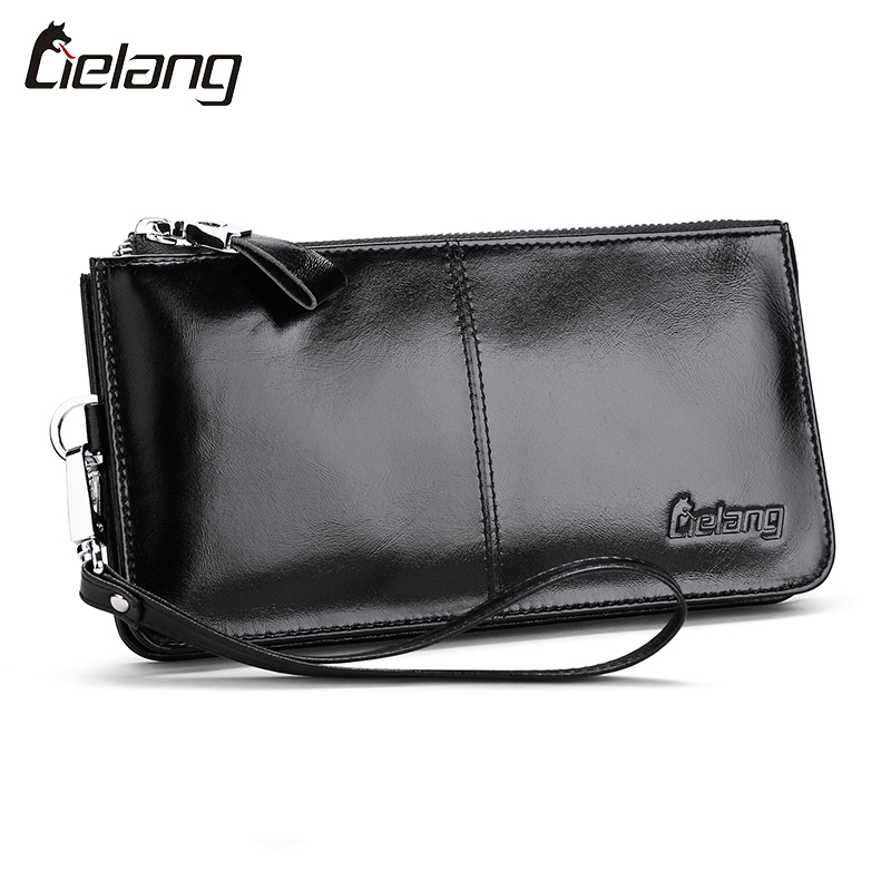 LIELANG Brand Men Long Wallet Vintage Genuine Leather Clutch Wrist Bag Black Wallets And Purses Card Holder Business Wallets Hot